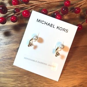 NEW Michael Kors Faux Pave Pearl Stud Earrings